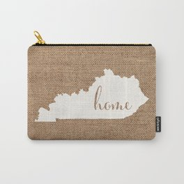 Kentucky is Home - White on Burlap Carry-All Pouch