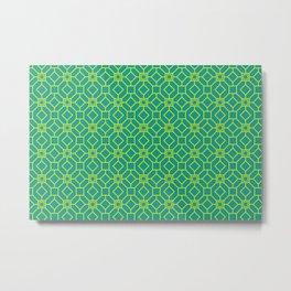 Art Deco Pattern Teal / Yellow Metal Print