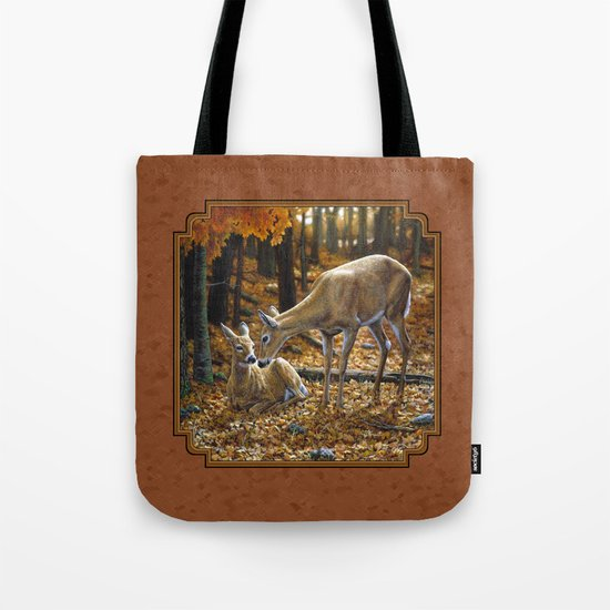 Whitetail Deer and Fawn in Autumn Tote Bag