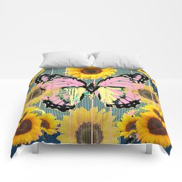ABSTRACT PINK BUTTERFLY TEAL GARDEN SUNFLOWER Comforters