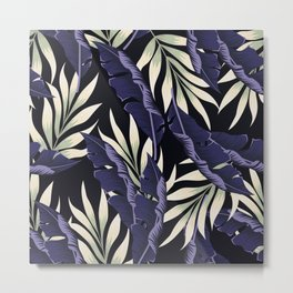 Original seamless tropical pattern with bright plants and leaves on a dark background. Exotic jungle wallpaper. Seamless exotic pattern with tropical plants. Metal Print