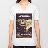 cameras V-neck T-shirts featuring Vintage cameras by BellaVitaArt