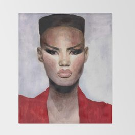 Grace Jones Portrait Throw Blanket