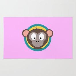 Cute Monkey Head with blue cirlce Rug