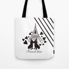 French (bulldogs) kiss in Paris Tote Bag