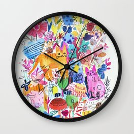 Orange and Pink Cats in Flower Garden Wall Clock