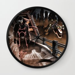 Man walking in a sci-fi city Wall Clock