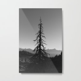 Black Tree in the Mountains Metal Print