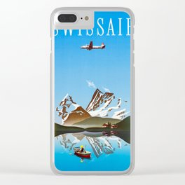 Alps - Vintage Swissair Travel Poster Clear iPhone Case