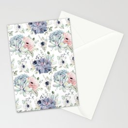 Succulents Blue + Rose Pink on White Stationery Cards