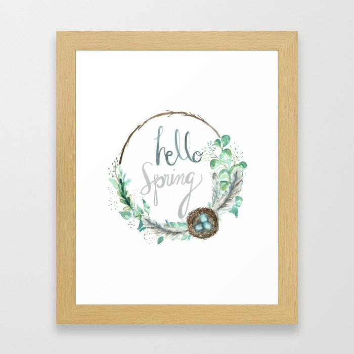 Hello Spring Eucalyptus Wreath with Nest Framed Art Print