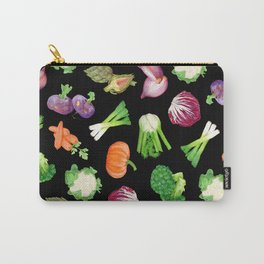 Black veggies pattern | Vegetables illustration pattern Carry-All Pouch