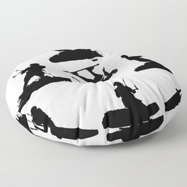 Wakeboarder Silhouette Collage Floor Pillow