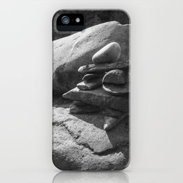 Inukshuk in the sun - Black and white iPhone Case