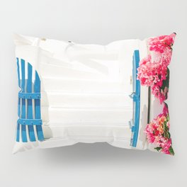 Colorful Blue Gate and White Staircases in Oia Santorini Island Greece Pillow Sham