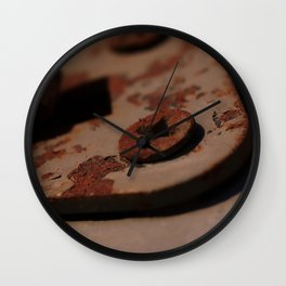 Rusty Screws on Weathered Painted Hook Wall Clock