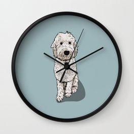 Labradoodle Illustration Blue Background Wall Clock