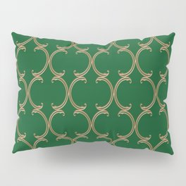 Gold Moroccan Lattice on Green Pillow Sham