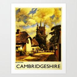 retro Cambridgeshire retro poster Art Print