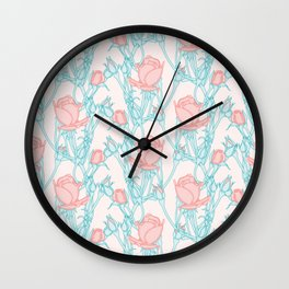 Rose Bud Branches Pattern Wall Clock