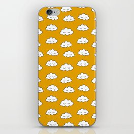 Dreaming clouds in honey mustard background iPhone Skin