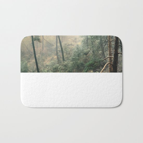 """""""Into the woods"""". Wandering into the fog Bath Mat"""