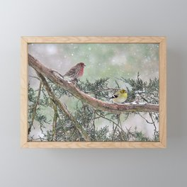 Two Finches in a Snowstorm Framed Mini Art Print