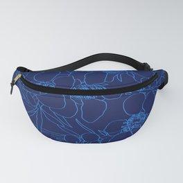 Australian Waxflower Line Floral in Blue Fanny Pack