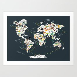 Cartoon animal world map for kids, back to schhool. Animals from all over the world Art Print