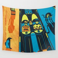 gotham Wall Tapestries featuring THIS IS BAT COUNTRY (Fear and loathing in Gotham City) by SimonCARUSO.com