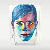emma watson Shower Curtains featuring Emma Watson by Stella Joy