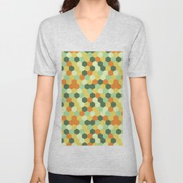 Hexagonal geometric pattern Unisex V-Neck
