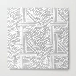 Sketchy Abstract (White & Gray Pattern) Metal Print
