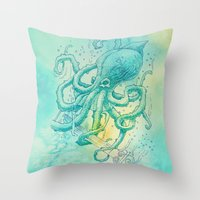 kraken Throw Pillows featuring Kraken by pakowacz