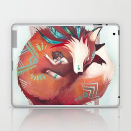 Wild - fox and girl sleeping together Laptop & iPad Skin