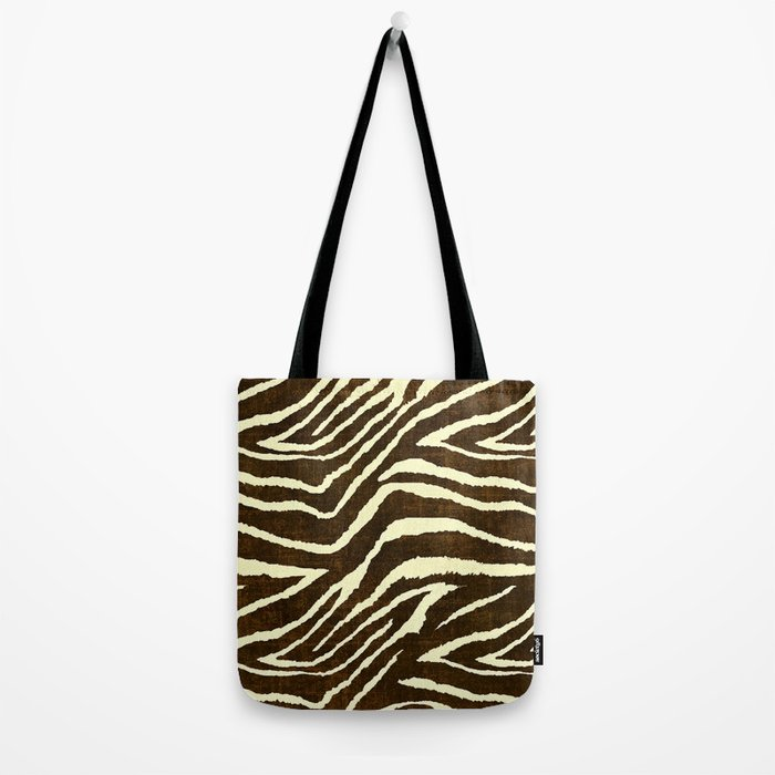 Animal Print Zebra in Winter Brown and Beige Tote Bag