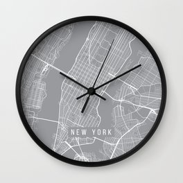 New York City Map, New York USA - Pewter Wall Clock
