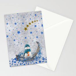 Snowman with sparkly blue stars Stationery Cards