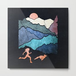Mountains Runnig Girl and Fox Metal Print