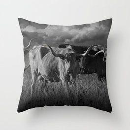 Texas Longhorn Steers under a Cloudy Sky in Black & White Throw Pillow