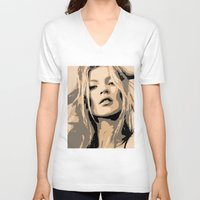 moss V-neck T-shirts featuring KATE MOSS by Christophe Chiozzi