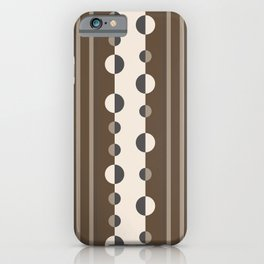 Geometric Circles and Stripes in Brown and Tan iPhone Case