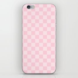 Large Soft Pastel Pink Checkerboard Chess Squares iPhone Skin