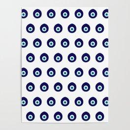 Turkish Blue Eye Bead Pattern Poster