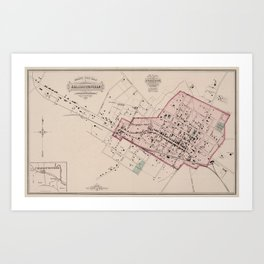 Vintage Map of Charlottesville VA (1877) Art Print