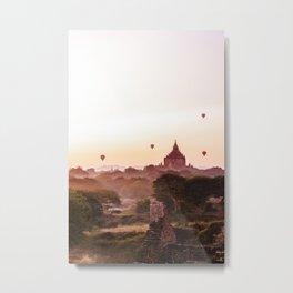 Sunrise Bagan Temple Myanmar   Asia pink sunrise Fine art   Color - pink - travel - photography - Art print Metal Print