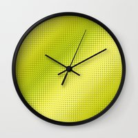 lime green Wall Clocks featuring Pattern lime green by Christine baessler