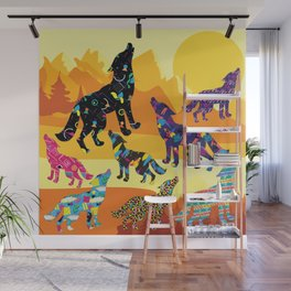 80s Funky Wolf (Daylight) Wall Mural
