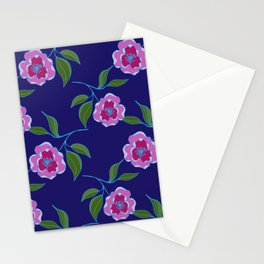 Peony Floral Floating Pattern Stationery Cards