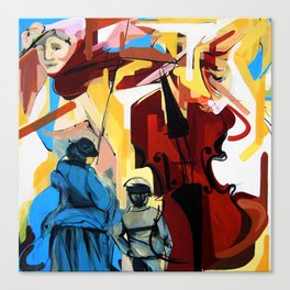 Expressive Cello People Painting Canvas Print